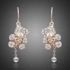Austrian Crystals Paved with Heart Shape Zircon Bear Jewelry Earrings  #rings #women #dresses #khaista #necklace #fashion #earrings #womensfashion #jewelry
