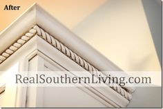 Glazed, Antique White Kitchen Cabinets w/Cabinet Glaze 005 ~ realsouthernliving