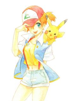 Misty wearing Ash's clothes
