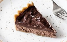This amazing mousse pie has an easy cookie crust and a light, fluffy chocolate mousse filling.