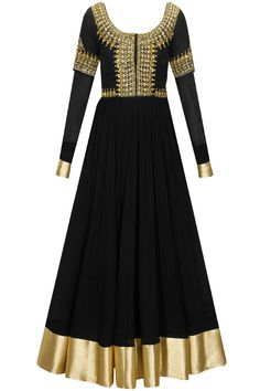 Black embroidered yoke anarkali set by Vasavi Shah. Shop at: www.perniaspopups... #anarkali #vasavishah #designer #chic #shopnow #perniaspopupshop #happyshopping.