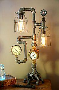 Steam Gauge Gear Plumbing Lamp Light Industrial Art Machine Age Steampunk | eBay