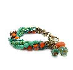 Boho Bracelet - Multi Strand Picasso Glass - Orange Turquoise Teal Charm Bracelet - Seed Beads - Chunky Statement Bracelet