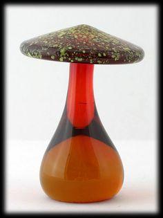 Blenko Amber Yellow Mushroom Glass Art Vintage 1970s