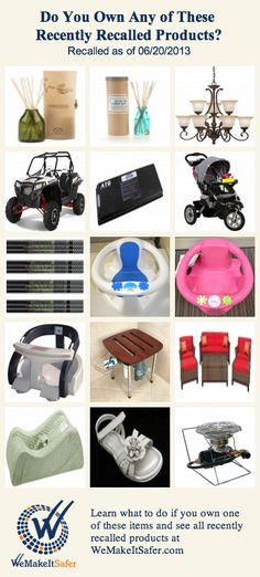 Recently recalled products, including ATVs, bath seats, outdoor seating, laptop batteries & more. See the rest at WeMakeItSafer.com
