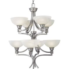 Progress Lighting P4182-09 Eight-Light Chandelier with Swirled Alabaster Glass and Square Arm Tubing and Cast Accents, Brushed Nickel
