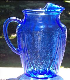 Hazel-Atlas Cobalt Blue Royal Lace Depression Glass 96 oz Pitcher w/ Ice Lip