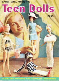 1960s Vintage Australian Teen Dolls Clothes Patterns Book for 12 inch 9 inch dolls