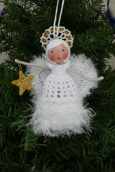 Clothespin Doll Angel for Gift Exchange inspiration