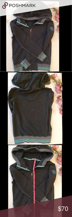 Lululemon small hooded sweater Blue and gray Lululemon small hooded sweater. The tag with size is missing, fits like a small and measurements are given. lululemon athletica Tops Sweatshirts & Hoodies