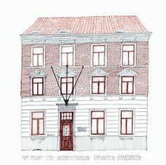 geraardsbergen - stationsplein. Vredegerecht ~ district court. this drawing to be published in GERARDIMONTIUM, local heritage quarterly, 2016