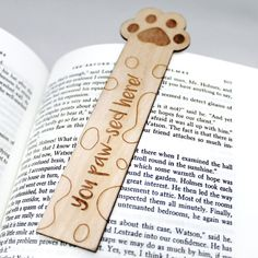Paw Print 'You Paw-sed here' Cat Dog Animal Bookmark Wooden Engraved Cute Funny Book Pun Personalized