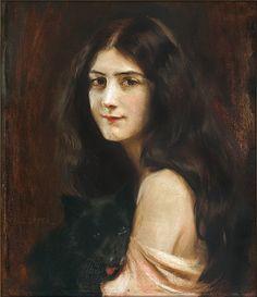 Tadeusz Styka  PORTRAIT OF YOUNG LADY WITH A DOG