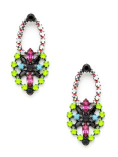 Neon Pacific Chic Earrings by LK Jewelry.  Gorgeous neon rhinestone earrings, reminiscent of Tom Binns hand painted neon collection