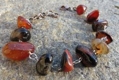 Natural Red Black Banded Agate Nugget Bracelet by GypsyDreamerCafe, $14.50