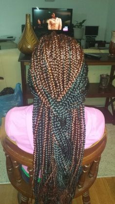 A little bit of color with box braids