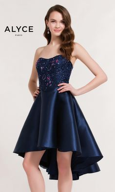 Short Evening Dresses Homecoming Dresses by ALYCE PARIS<BR>aay3730<BR>Short high-low mikado skater dress with semi-sweetheart neckline, lace up back.