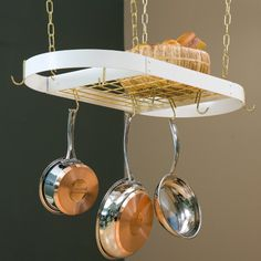 The Gourmet Oval Kitchen Pot Rack with Grid, Black/Brass Red Kitchen, Kitchen Dining, Kitchen Rack, Pot Rack Hanging, Hanging Organizer, Hanging Pots, Copper Pots, Hammered Copper, Brass