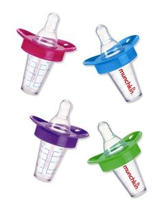 BPA-free, The Medicator from Munchkin was designed by a pediatrician and serves baby liquid medicine in the bottle shape she's used to. Plus, the spout bypasses baby's taste buds, so she'll be less likely to squirm. Munchkin.com