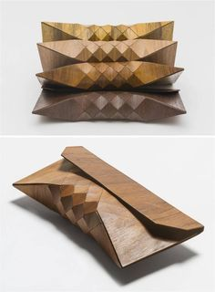 Wearable wood clutches by Israeli designers Tesler e Mendelovitch. Mode Origami, Fashion Bags, Fashion Accessories, Wooden Purse, Beautiful Bags, Leather Craft, Textile Design, Clutch Bag, Purses And Bags