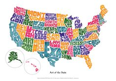 United States Text Map By Michael Tompsett Travel The World