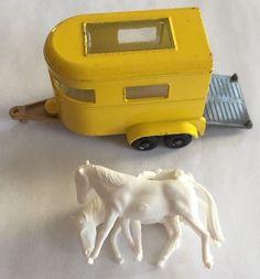Vintage Lesney England Matchbox No. 43 Yellow Metal Pony Trailer with Horses  | eBay