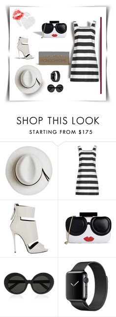 """""""Kisses and Hugs"""" by michelletheaflack ❤ liked on Polyvore featuring Calypso Private Label, Dolce&Gabbana, Giuseppe Zanotti, Alice + Olivia, Linda Farrow, monochrome and polyvorecontests"""