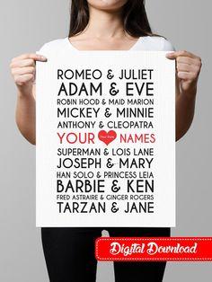 Famous Couples Print wall art custom names, wedding anniversary printable decor typography, subway art - Offline from OfflinePrintables on Etsy.