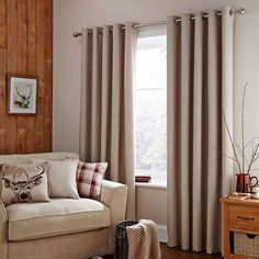 Harris Natural Thermal Eyelet Curtains | Dunelm