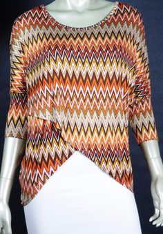 B. ENVIED CAREER CASUAL ZIGZAG 3/4 SLEEVE BUTTERFLY FRONT TUNIC BLOUSE LARGE #BENVIED #KnitTop #Casual