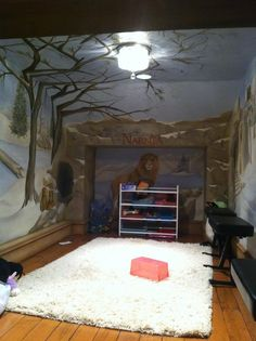 Secret door inside this wardrobe leads to a Narnia-themed playroom. AWESOME