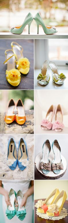 Colorful Peep-Toe Wedding Shoes- Yellow, Pink, Blush, Blue / http://www.deerpearlflowers.com/most-wanted-wedding-shoes-for-bride/