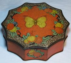 RARE SUPERB FANCY 10 SIDED BISCUIT TIN MACFARLANE+LANG BUTTERFLY PEACHES C1930
