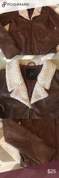 Gorgeous Brown Jacket!!! This lovely little thing I have had in the back of my closet for years but never got around to wearing it much:( it is a camel brown color, leather type material, awesome soft cream color! Perfect condition! Only worn once or twice Jackets & Coats