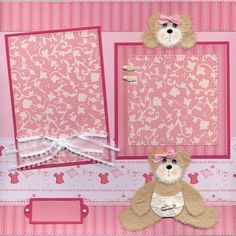 BABY GIRL Tear Bears 12x12 Scrapbook Premade Pages / by SBFO