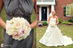 gray bridesmaid dresses, neutral bouquet #peony, #rose #hydrangea #fleurtaciousdesigns - Elario Photography