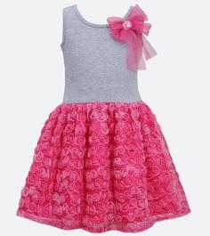 Girls Fuchsia-Pink Bow Shoulder Knit to Bonaz Rosette Mesh Overlay Dress Children's Fashion Girls Lace Dress, Little Girl Dresses, Baby Dress, Girls Dresses, Toddler Girl Outfits, Kids Outfits, Toddler Girls, Frocks For Girls, Girls Jeans