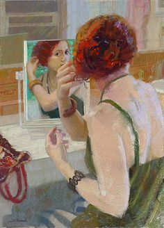 """""""Looking Back"""" by Sally Strand. I've watched many girls and my wife in front of mirrors and it is fascinating to see the focus they put into their appearance."""
