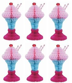 6-x-1950s-ICE-CREAM-SUNDAE-TABLE-CENTREPIECE-HONEYCOMB-PARTY-DECOR-GREASE-DINER