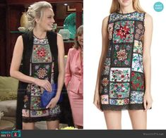Abby's floral patchwork shift dress on The Young and the Restless.  Outfit Details: https://wornontv.net/95230/ #TheYoungandtheRestless