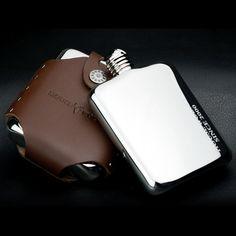 Fumeur 6 oz miroir Surface Whisky 304 en acier inoxydable paquet Hip Flask Flagon cadeau Set avec 2 copos + étui en cuir bouteille de Whisky