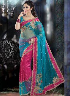 Stunning Pink N Blue Half N Half Saree