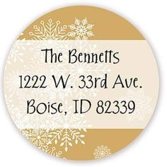 Holiday Address Label - Christmas Snowflake Overlay Gold Round   So Sweet Stationery