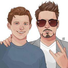 Peter Parker (Tom Holland) and Tony Stark (Robert Downey Jr.)(by: machomachi)