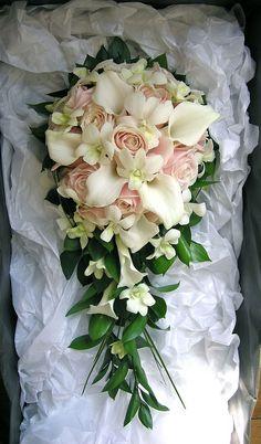 Calla lily, rose, orchid teardrop bouquet by Fiori by Lynne by fioribylynne, via Flickr