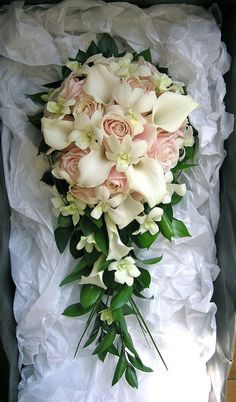 Calla lily, rose, orchid teardrop bouquet by Fiori by Lynne by fioribylynne, via Flickr