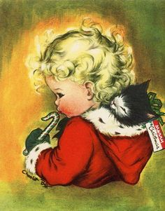 Vintage Christmas Charlot Byj Greeting Card Angel with Cat & Candy Cane EB6099