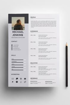 Clean & Modern Resume/cv template to help you land that great job. The flexible page designs are easy to use and customize, so you can quickly tailor-make your resume for any opportunity. Creative Cv Template, Modern Resume Template, Resume Design Template, Creative Cv Design, Layout Cv, Text Layout, Cv Photoshop, Word Cv, Cv Web