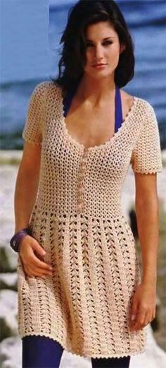 Los vestidos, la falda. El modelo para joven, vinculado por el gancho // Елена Карпенко