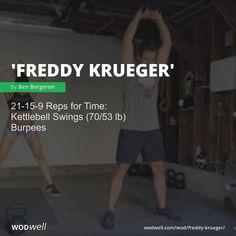 Reps for Time: Kettlebell Swings lb); Crossfit Workouts At Home, Wod Workout, At Home Workout Plan, Fit Board Workouts, Workout Board, Kettlebell Training, Kettlebell Swings, Get Moving, Freddy Krueger